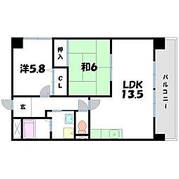 メゾンクレーネ弐番館[2階]の間取り