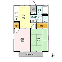 東京都日野市落川の賃貸アパートの間取り