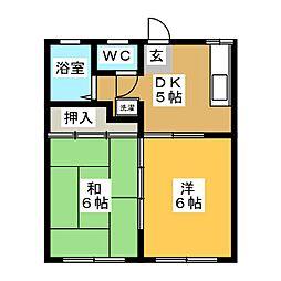 ハイツラヴァントB[1階]の間取り