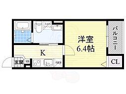 近鉄南大阪線 矢田駅 徒歩12分の賃貸アパート 1階1Kの間取り