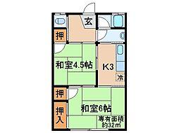 京都府宇治市菟道丸山の賃貸アパートの間取り