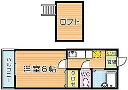 福岡県北九州市門司区大里戸ノ上1丁目の賃貸アパートの間取り