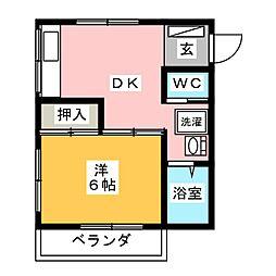 静岡県静岡市駿河区南町の賃貸マンションの間取り