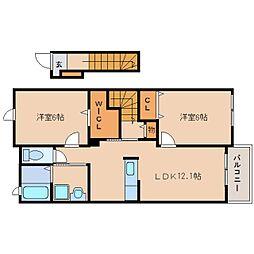 近鉄田原本線 池部駅 徒歩6分の賃貸アパート 2階2LDKの間取り