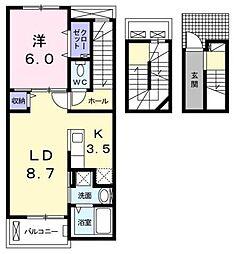 カプリIII 3階1LDKの間取り