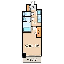 プレサンスジェネ葵 10階1Kの間取り