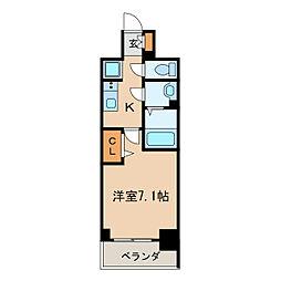 プレサンス桜通ベルノ 6階1Kの間取り