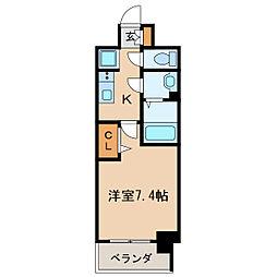 プレサンス桜通ベルノ 11階1Kの間取り