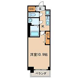 プレサンス丸の内リラティ 11階1Kの間取り