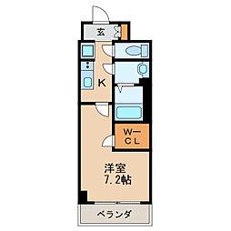 プレサンス丸の内アデル 10階1Kの間取り