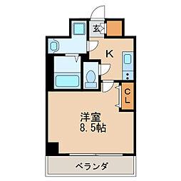 レジデンシア泉I 6階1Kの間取り
