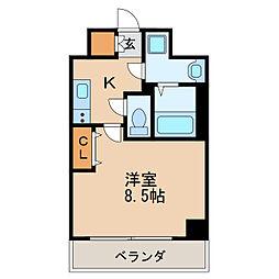 レジデンシア泉I 11階1Kの間取り