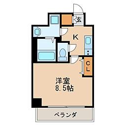 レジデンシア泉I 2階1Kの間取り