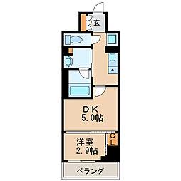 パークアクシス新栄 7階1DKの間取り
