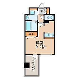 アドバンス名古屋モクシー 14階ワンルームの間取り