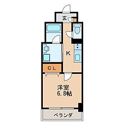 アクアエテルナ泉 5階1Kの間取り