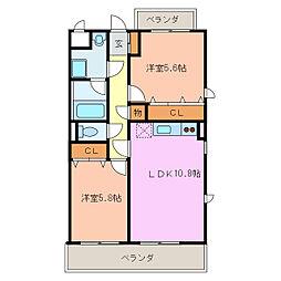 SUNNY COURT MARUTAKA II[1階]の間取り