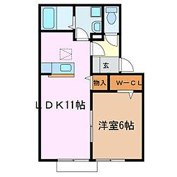 愛知県愛知郡東郷町清水2丁目の賃貸アパートの間取り