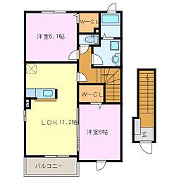 三重県鈴鹿市寺家5丁目の賃貸アパートの間取り