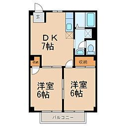 サンシップ 2階2DKの間取り