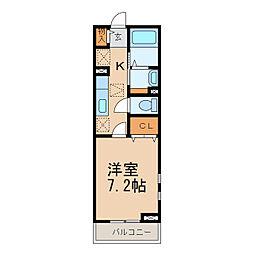 サニーホワイトII 2階1Kの間取り