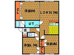 北海道北斗市中野通3丁目の賃貸アパートの間取り
