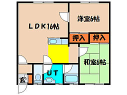 北海道亀田郡七飯町大川2丁目の賃貸アパートの間取り