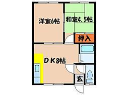 北海道北斗市飯生1丁目の賃貸アパートの間取り