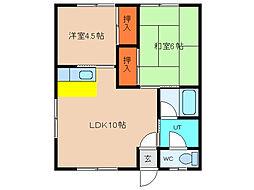 北海道函館市鍛治2丁目の賃貸アパートの間取り