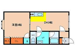 北海道函館市人見町の賃貸アパートの間取り