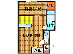 北海道函館市万代町の賃貸アパートの間取り