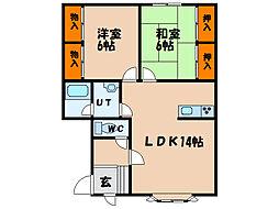 北海道北斗市追分2丁目の賃貸アパートの間取り
