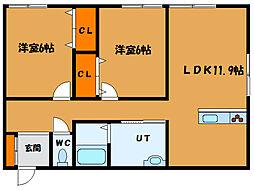 北海道北斗市本町5丁目の賃貸アパートの間取り
