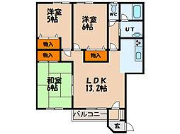 北海道北斗市七重浜4丁目の賃貸アパートの間取り