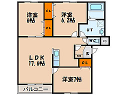 北海道函館市追分町の賃貸マンションの間取り