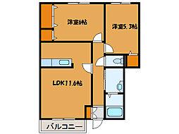 北海道北斗市追分1丁目の賃貸アパートの間取り