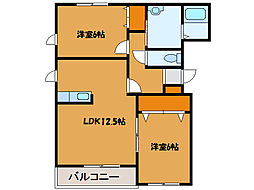 北海道北斗市追分1丁目の賃貸マンションの間取り