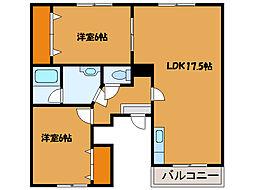 北海道北斗市追分3丁目の賃貸アパートの間取り