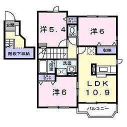 北海道北斗市追分2丁目の賃貸マンションの間取り