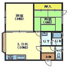 北海道函館市鍛治1丁目の賃貸アパートの間取り