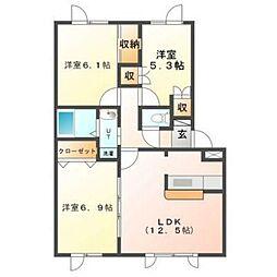 北海道函館市上新川町の賃貸アパートの間取り