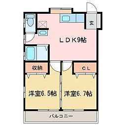 ソシアサニーヒルII[1階]の間取り