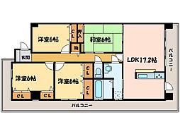 マリベール中須賀[3階]の間取り