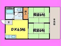 滋賀県大津市膳所2丁目の賃貸アパートの間取り