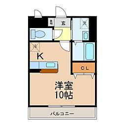 滋賀県大津市本宮2丁目の賃貸アパートの間取り