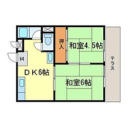 滋賀県大津市木下町の賃貸アパートの間取り