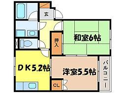 滋賀県大津市唐橋町の賃貸アパートの間取り
