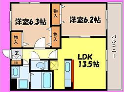 滋賀県大津市瀬田5丁目の賃貸マンションの間取り