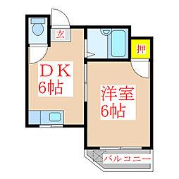 中村ハイツ[3階]の間取り