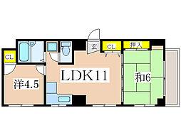 サンロイヤル新屋敷[6階]の間取り